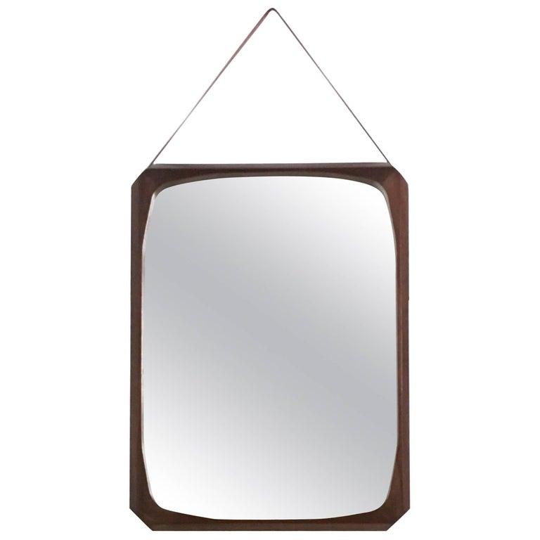 Rectangular Mahogany and Leather Wall Mirror, Italy, 1950s-1960s