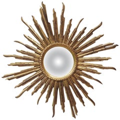 French Convex Sunburst Gilded Wood Mirror
