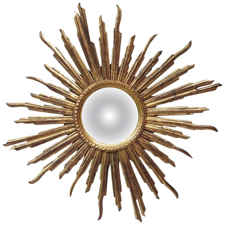 French Convex Sunburst Gilded Wood Mirror