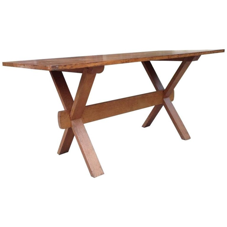 Heals attri an arts and crafts space saving oak dining table with x frame legs for sale at 1stdibs - Heals dining table ...