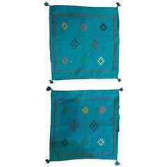 Pair of Moroccan Hand-Loomed Blue Wool Pillowcase