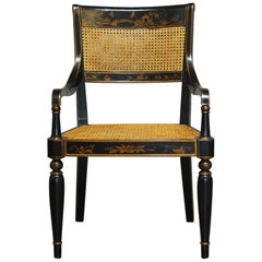Regency Style Chinoiserie Painted Cane Armchair by Bernhardt