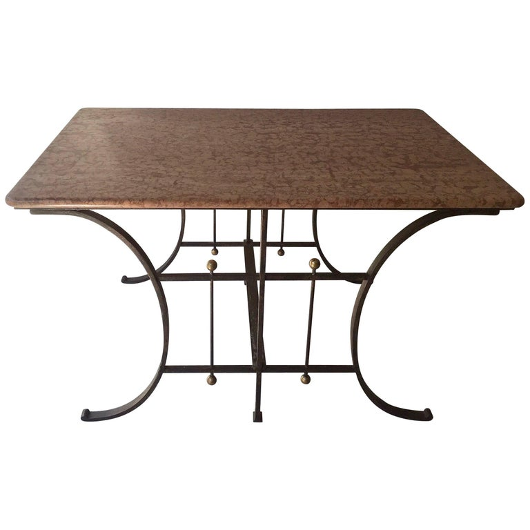 19th Century French Butcher Table with Original Marble Top