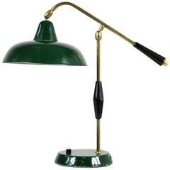 1950s Italian Table Lamp Arredoluce Dark Green & Brass with Adjustable Lampshade