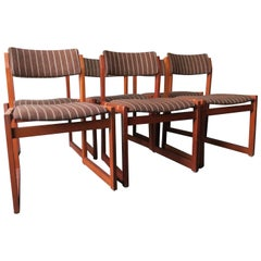 Set of Six Unusual Modernist Korup Stolefabrik Chairs with Slung Seats