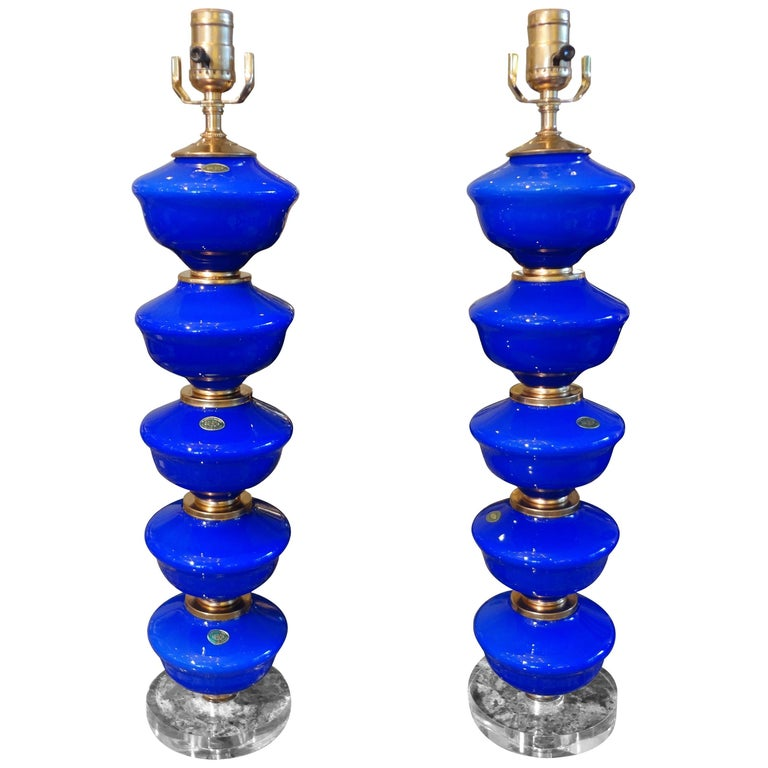 Pair of Cobalt Blue Murano Glass Lamps by Balboa