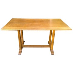 Heals, an Arts & Crafts Oak Dining Table with Hand Chamfered Edges