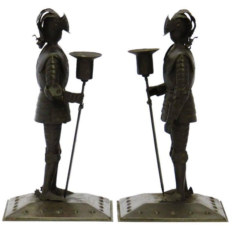 Pair of Arts & Crafts Candlesticks, Goberg Knights Vienna Secession Hugo Berger