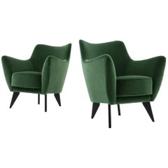 Green Velvet Italian Midcentury 'Perla' Armchairs by Giulia Veronesi, 1950s