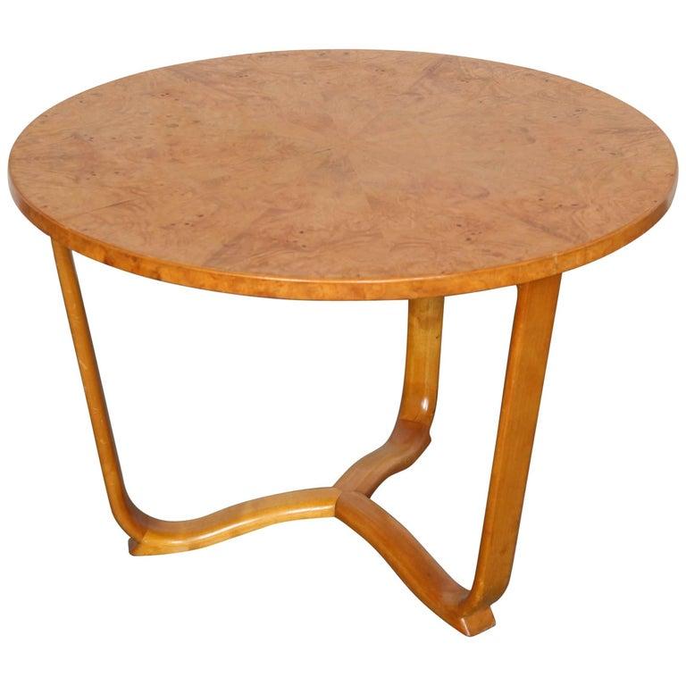 Burl Coffee Table Legs: Midcentury Burl Wood Coffee Table With Bent Legs At 1stdibs