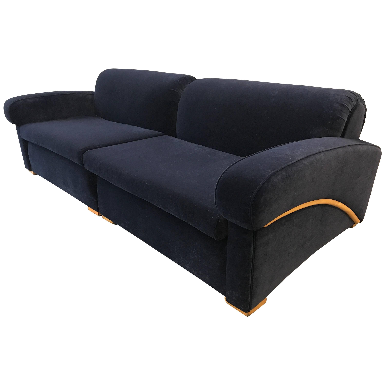 Art Deco Royal Blue Sofa Sectional For Sale