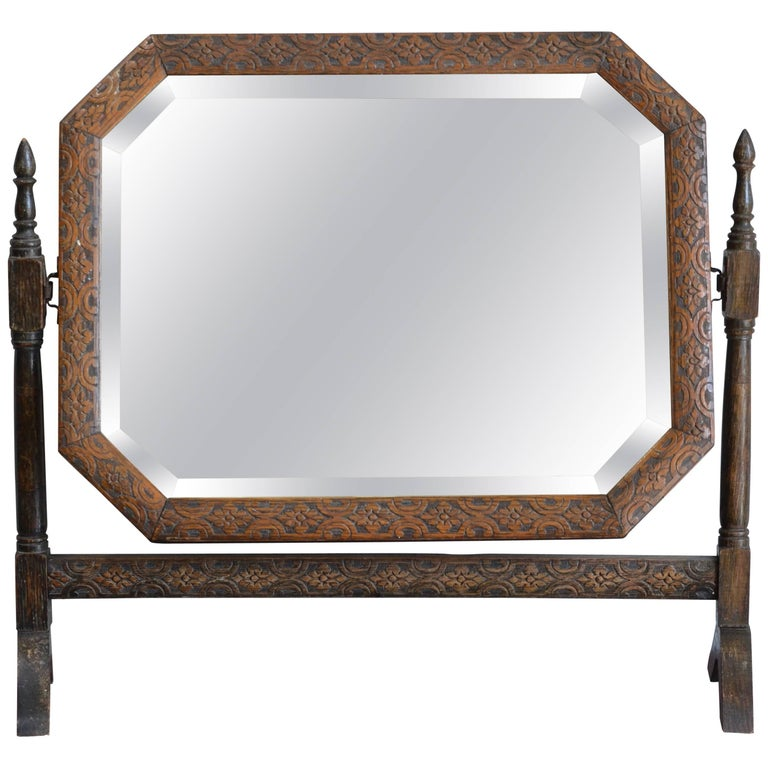 Carved Oak American Arts & Crafts Vanity Tilt Mirror