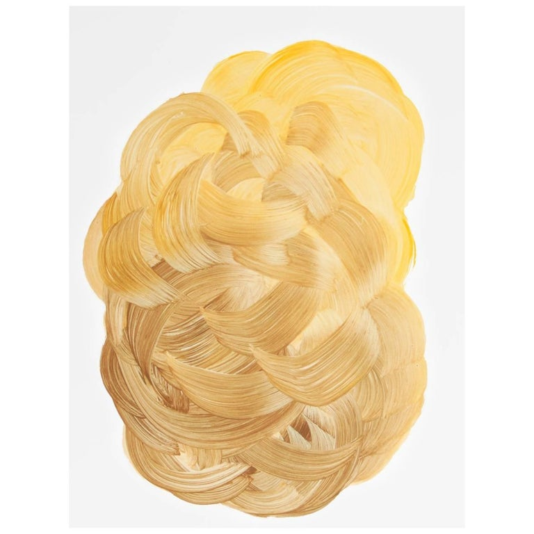 Dream Hive Yellow Gold Abstract Contemporary Painting on Paper by DLeuci Studio