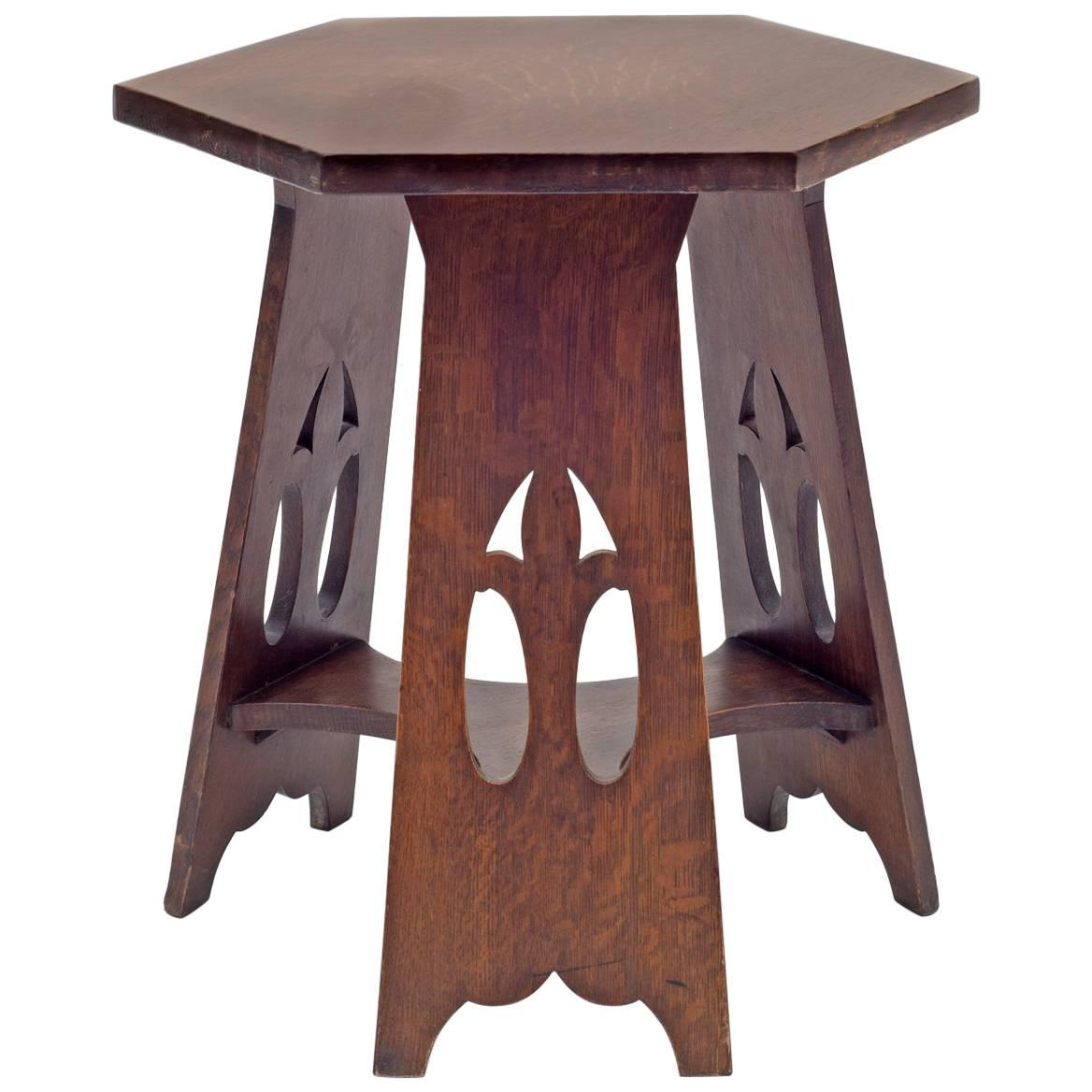 Delightful Stickley Brothers Quaint Furniture Co. Hexagonal Oak Taboret Table, USA,  1900s 1