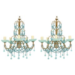 Italian Blue Opaline Beaded Chandeliers, Pair