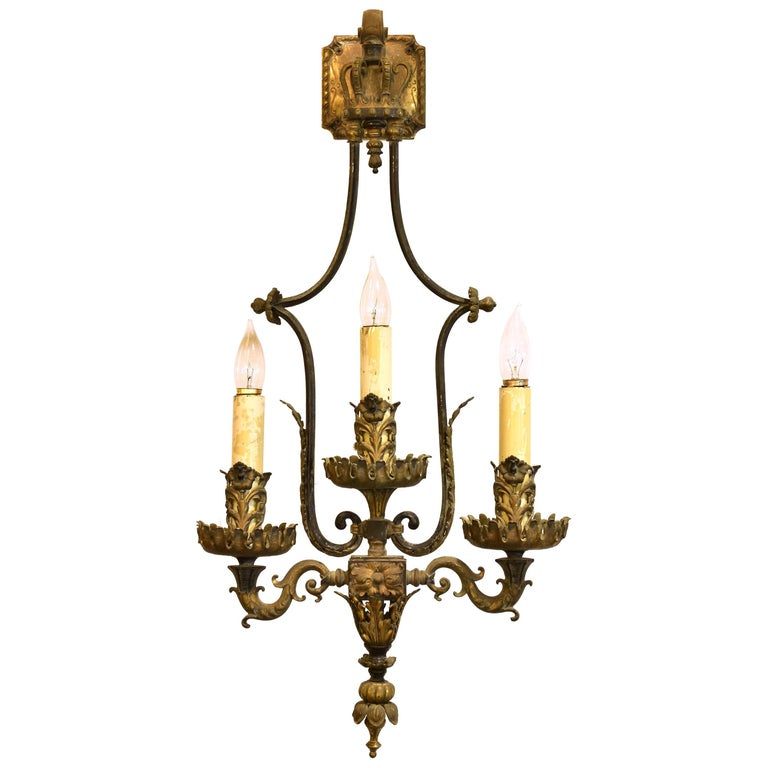 Brass and Bronze Oversized Three Candle Wall Sconce For Sale at 1stdibs