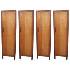 Heals and Son Four 1930s Single & Slim Single Oak Wardrobes or Kitchen Cupboards