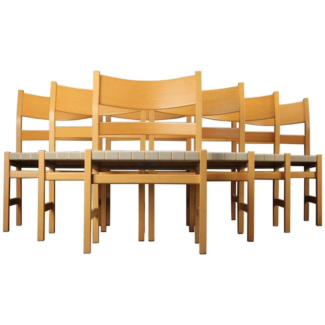 Wonderful Set Of Seven Wegner Koldinghus Dining Chairs In Beech And Woven Seat,  GETAMA 1