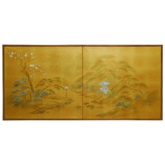 Japanese Two-Sided Folding Byobu Silk Painted Screen