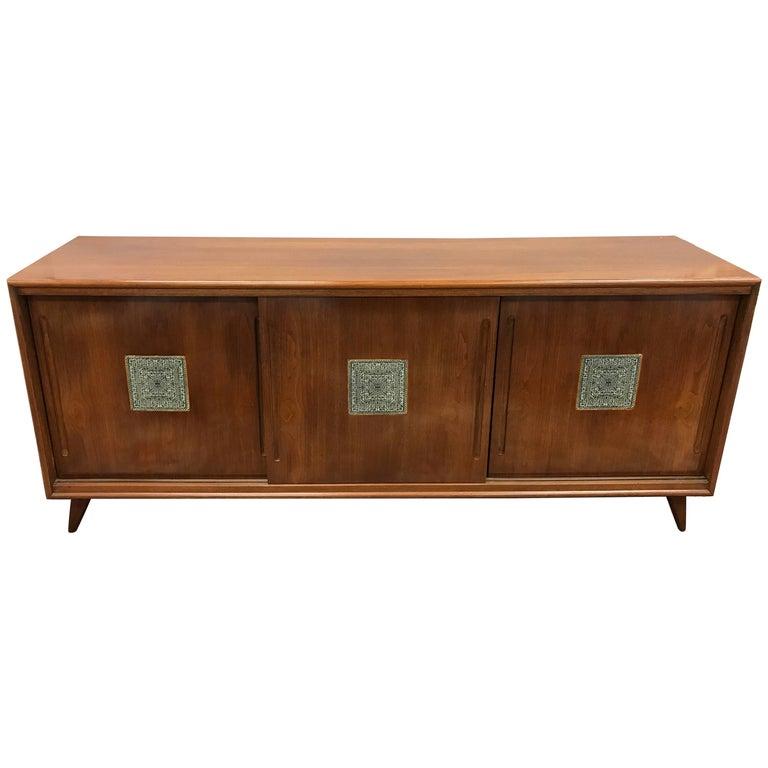 Sliding Glass Doors Buffet ~ Midcentury sliding tile front walnut sideboard credenza