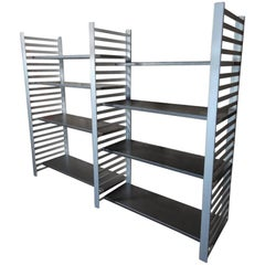 Large Vintage Retro Industrial Stainless Steel/Aluminum Shelving Rack