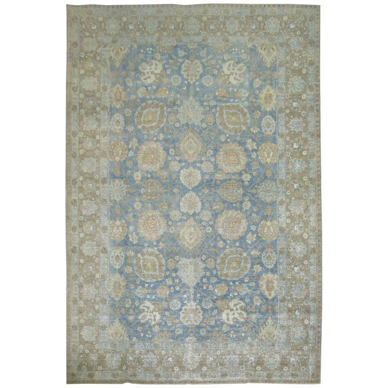 Antique Persian Tabriz Rug In Ocean Blue And Brown For Sale At 1stdibs