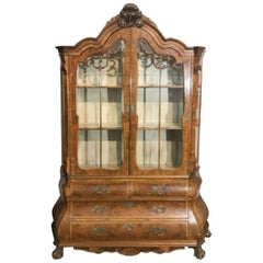Dutch Walnut Display Cabinet or Vitrine of Bombe Form, 19th Century