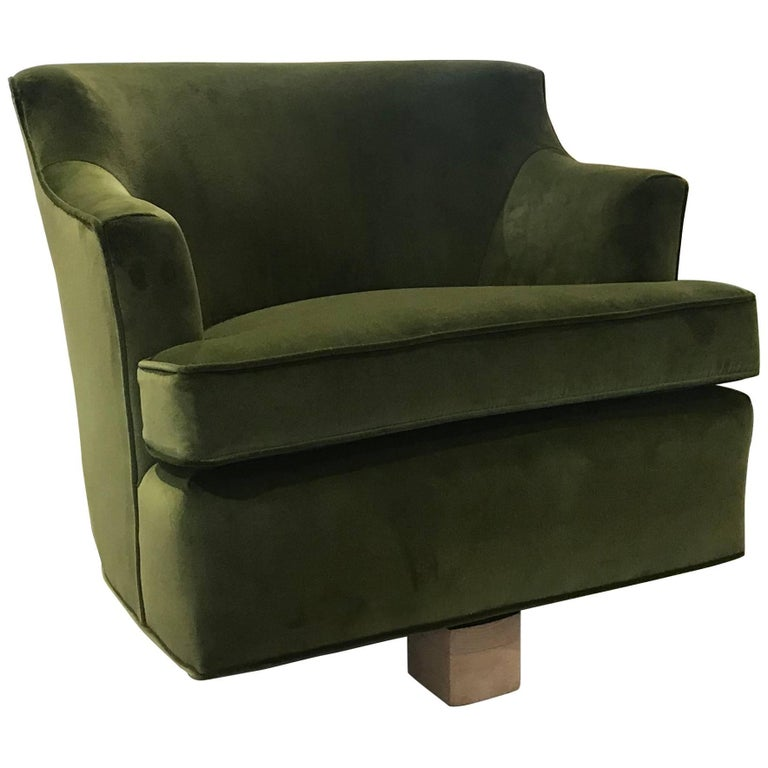 Modern Green Velvet Swivel Lounge Chairs with Bleached Wood Base