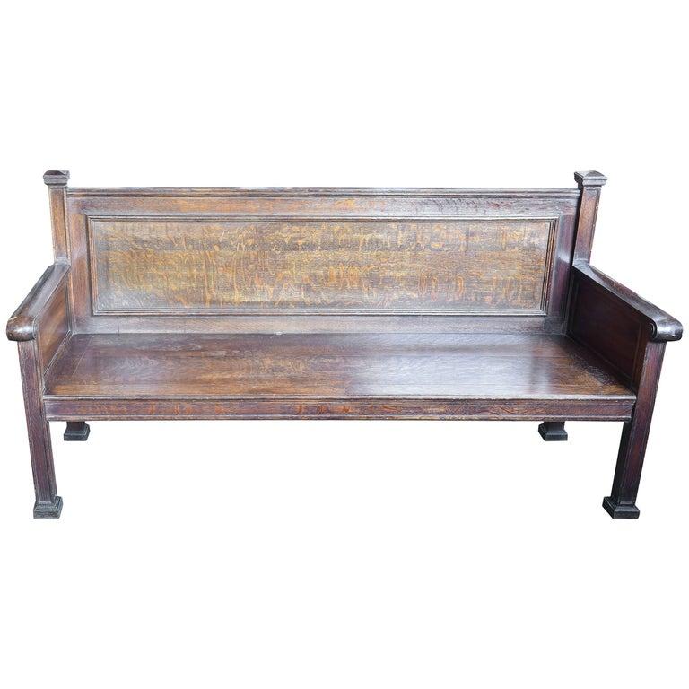 Quartersawn Oak Train Bench For Sale