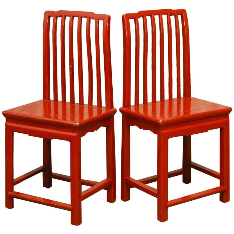 Pair Of Ming Style Chinese Red Lacquer Chairs For Sale