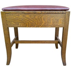 Heals Attributed, Arts & Crafts Cotswold School Oak Stool with a Hidden Drawer