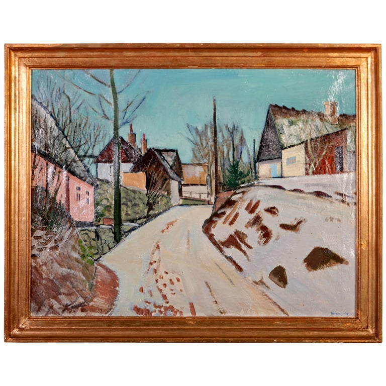 Harald Heiring Danish Village Painting  For Sale