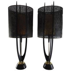 Danish Modern Pair of Modeline Rocket Teak Lamps