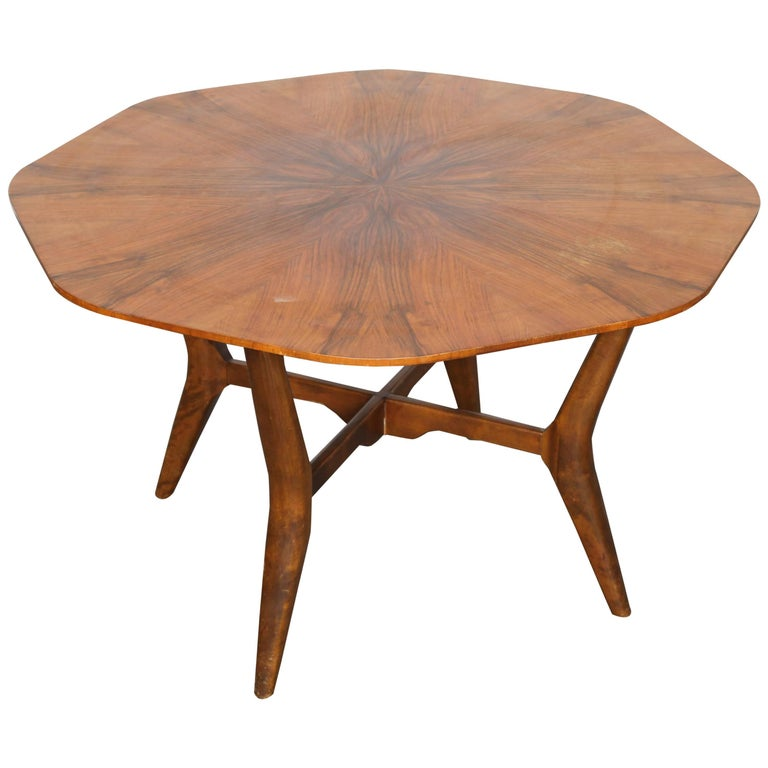 Swedish Midcentury Octagon Shaped Rosewood Top Coffee Table