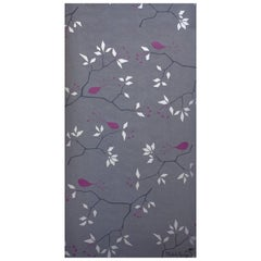 Geobird Screen Printed Wallpaper in Metallic Silver, and Plum on Graphite