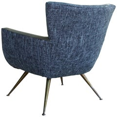 1950s Italian Blue/Green Upholstered Club Chair with Radical Tapered Brass Legs