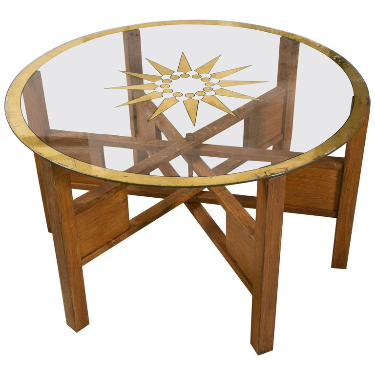 Art Deco Oak and Glass Coffee Table For Sale