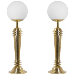 Art Deco Brass Lamps with Frosted Glass Globes, Pair