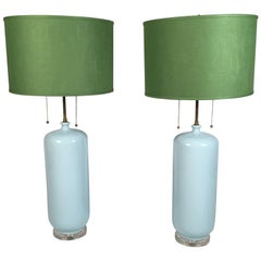 Pair of Tall Light Blue Ceramic Lamps