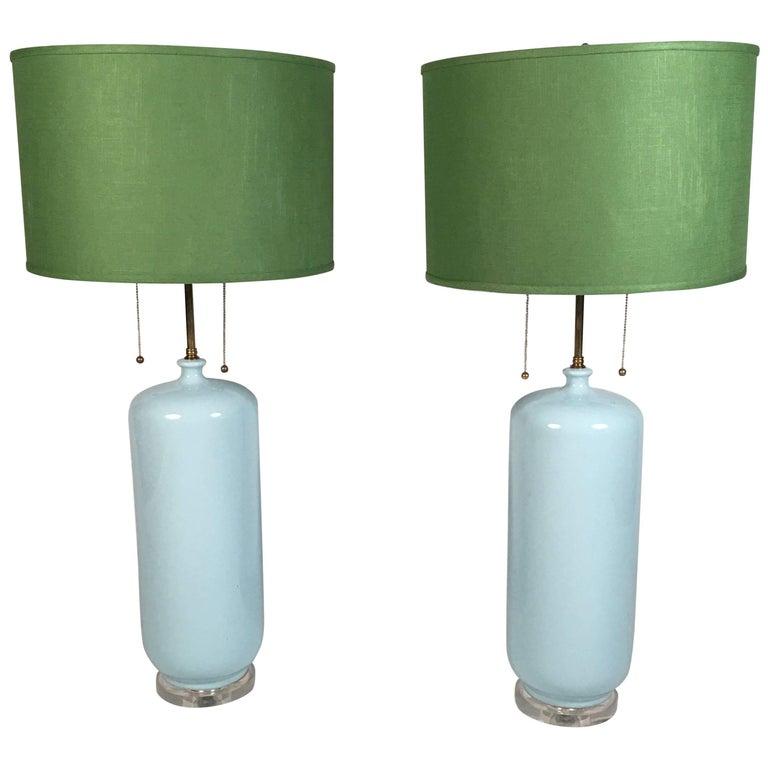 Pair of Tall Light Blue Ceramic Lamps