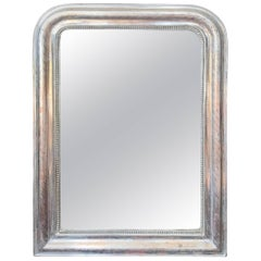 French Louis Philippe Silver Leaf Mirror with Geometric Pattern, 19th Century