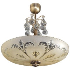Swedish Midcentury Hanging Bowl with Pear Crystals by Orrefors, circa 1950
