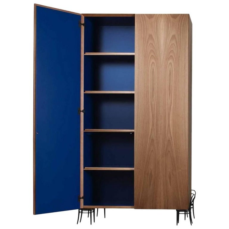 """""""56 Cabinet"""" Italian Walnut Cabinet Blue Lacquered Inside by R. Gilad, Adele-C"""