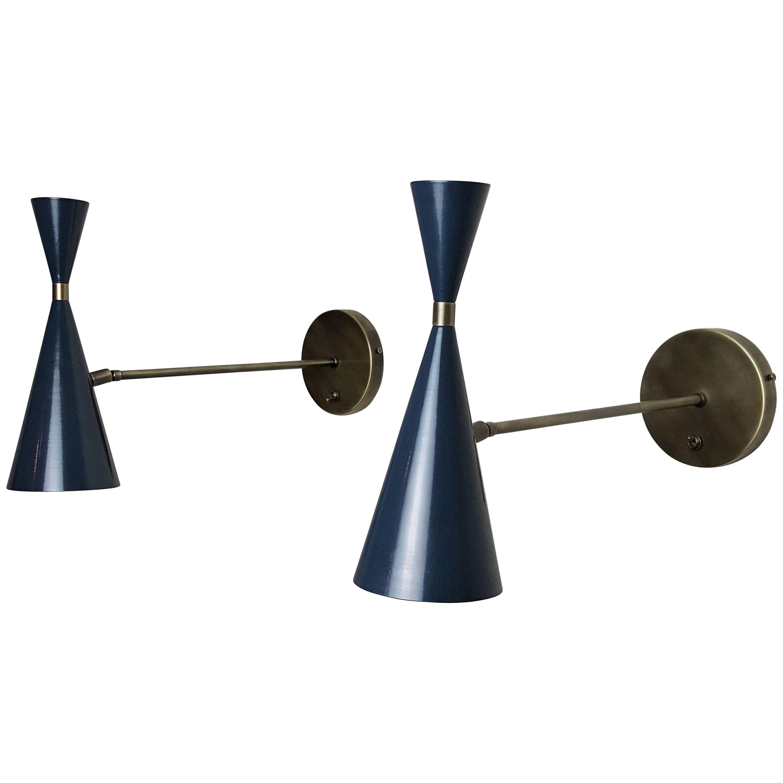Italian Modern Wall-Mount Reading Lamp in Bronze & Enamel by Blueprint Lighting