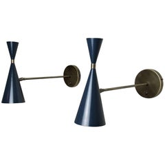 Italian Modern Wall-Mount Reading Lamp in Bronze & Enamel by Blueprint Lighting