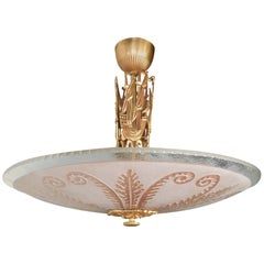 Swedish Hanging Fixture with Rose Etched Glass and Sailing Ships by Orrefors