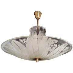 Swedish Art Deco Etched Glass Hanging Fixture-Bo Notini for Glössner, 1945