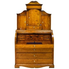 19th Century Scandinavian Birch Empire Bureau Secretary with Bookcase, c. 1820