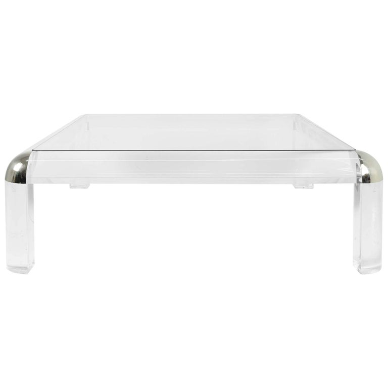 Lucite and Chrome Coffee Table, Karl Springer Style