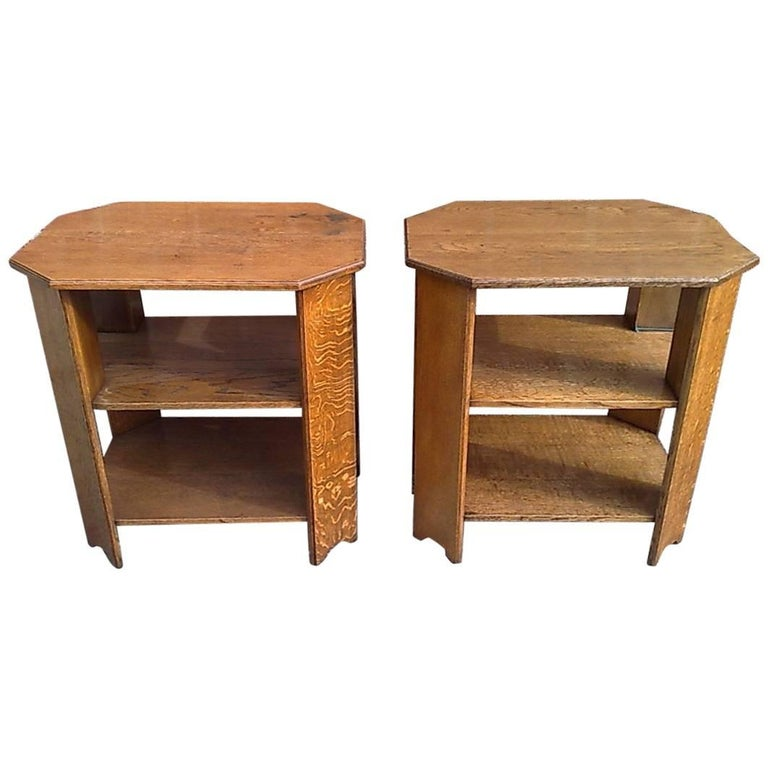 Heals. Pair of Arts & Crafts Oak End Tables with Three Tiers and Canted Corners